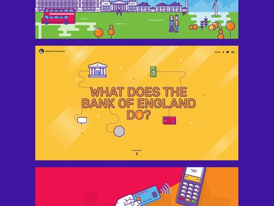 Bank of England - What does the bank do? money banking bank website design fun bright colour flat illustration