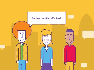 How does the Bank affect us? speech people money banking bank website design fun bright colour flat illustration
