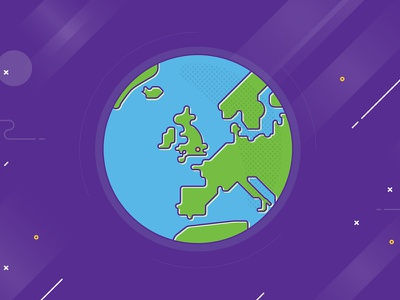 Earth globe map earth uk planet website design fun bright colour flat illustration