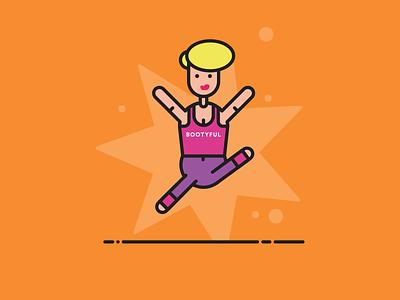 BAM! vest hair girl stars jumping dancing fitness illustration