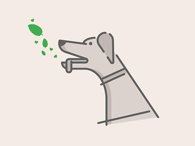 Fresh Breath! pet animal vector grayscale heart illustration fresh mint dog