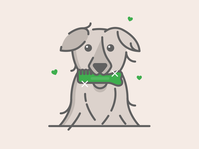 Yum! pet animal vector grayscale heart illustration sparkle brush fresh mint dog