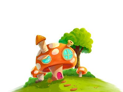 Mushroom House app typography design illustration