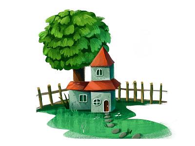 Small tree house icon typography illustration design