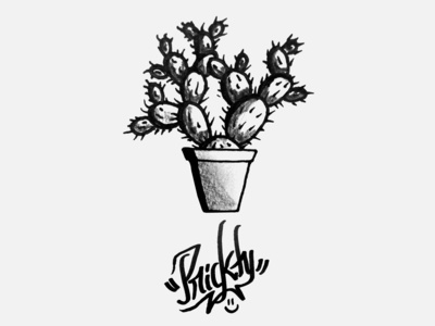 Prickly smiley cactus prickly illustration parallel pen modern calligraphy ink black typography inktober 2018 inktober calligraphy calligraffiti