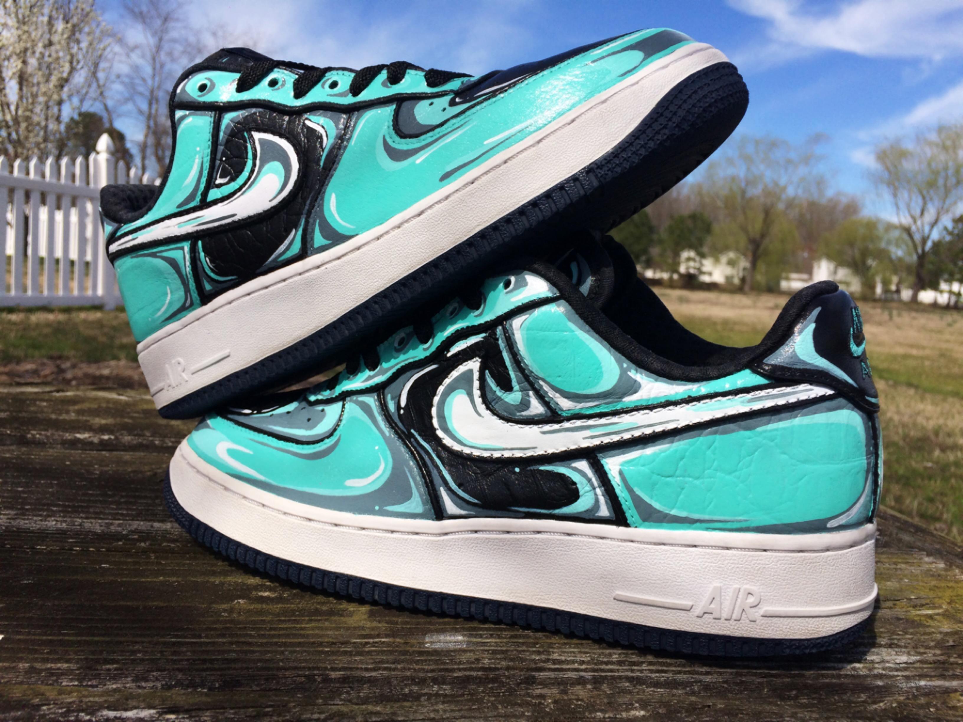 07 On 1 By Premium Gigi Sneaker Aqua Air Force Nike Custom Rodgers b76fgy