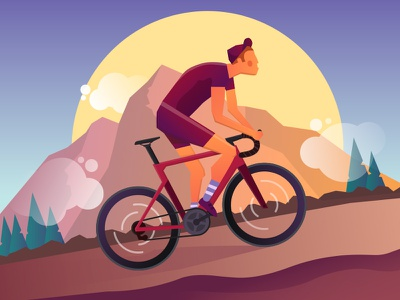 Climber cloud road bike mountain cyclist bike illustration