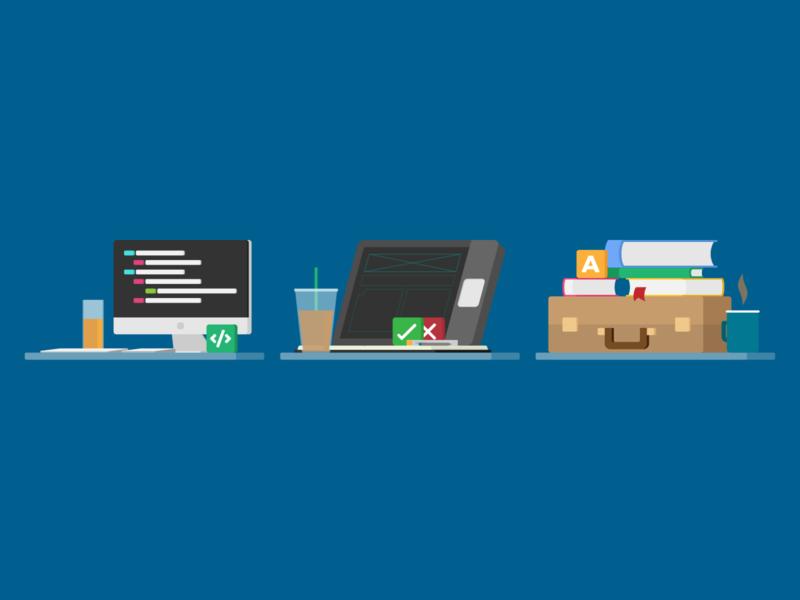 'Your next job' illustrations coding desktop imac briefcase lecturer designer developer career business