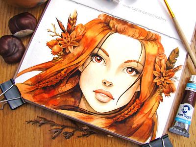 Autumn wind art girl fairy tale illustration character watercolor