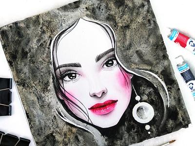 Oxide Black beauty portrait girl character illustration watercolor