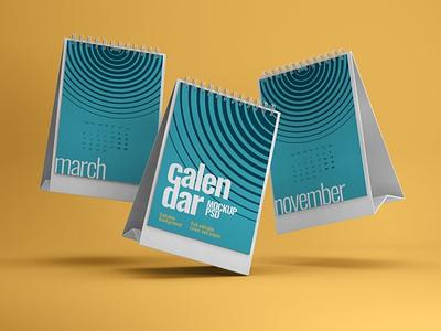 Desk Calendar Mockup Set ux ui mock-up download branding psd mockup schedule organizer table date business month year spiral desk paper calendar office