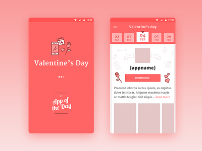 Valentine's day by App of the Day red pink schedule calendar daily love design app day valentines