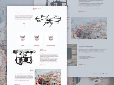 SAR Drone clean minimal site search and rescue landing page drone ui web design
