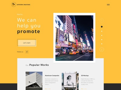 Promote Your Business yellow header responsive ux ui advertise banner promote website