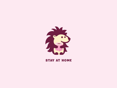 Stay at home quarantine coronavirus toilet paper illustration design funny cute brand logo hedgehog