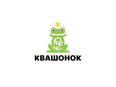 Little frog tub barrel crown prince king frog branding design funny cute brand logo
