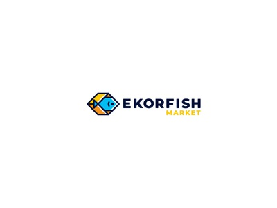 ekorfish arrow box delivery fish design cute brand logo