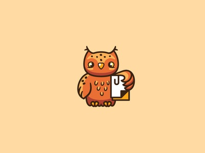 Owl with docs clip docs owl bird funny cute brand logo