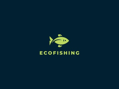 EcoFishing ecology eco leaves leaf seafood fishing fish cute brand logo