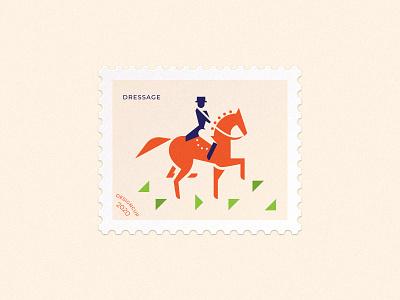 Dressage postage stamp mark dressage sport rider horse vector branding illustration brand logo
