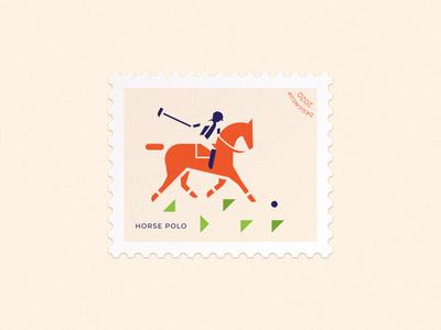 Horse polo illustration minimalism simple postage stamp mark horse polo polo sport rider horse vector branding design brand logo