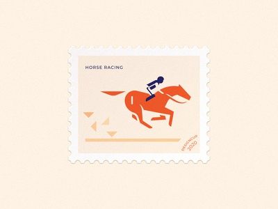 horse racing postage stamp mark animal horse racing racing rider sport horse simple minimalism vector branding illustration design brand logo