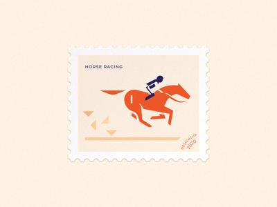horse racing postage stamp mark animal horse racing racing rider sport horse simple minimalism vector branding illustration design brand logo