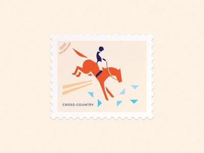 Cross-country postage stamp mark sport cross-country cross rider horse vector branding illustration brand logo