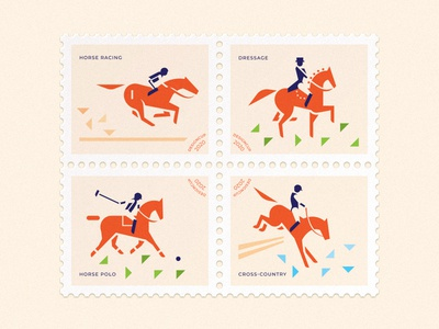 Postage Stamps minimalism simple cross cross-country horse polo dressage racing horse racing postage stamp mark sport vector branding horse illustration design brand logo