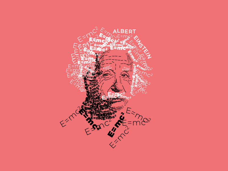 Albert Einstein poster print portrait human scientist science physics formula albert einstein typogaphy art vector illustration lettering