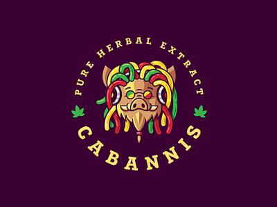 Cabannis reggae music rastaman cannabis character mascot pig boar illustration design funny cute brand logo