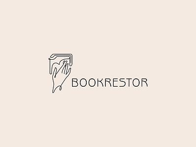 bookrestor lineart elegant hand book branding vector design brand logo