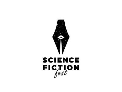 science fiction pen clever science fiction ufo simple vector branding illustration design brand logo
