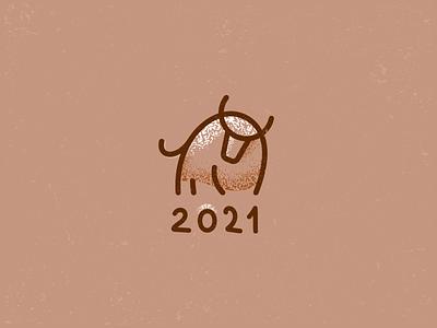 Happy 2021 holliday winter line bull simple branding vector illustration design brand logo