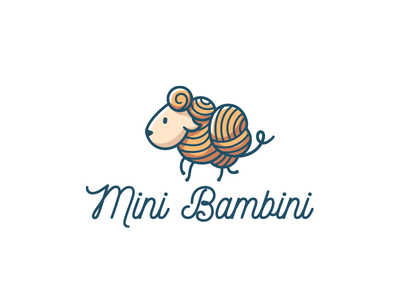 Mini Bambini yarn knitwear knitting knitted knit sheep branding vector illustration funny design cute brand logo