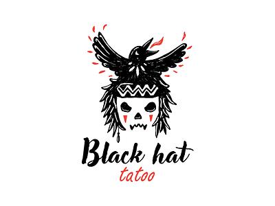 Black hat hand drawn tatoo skull crow design brand logo