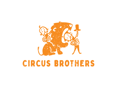 Circus Brothers trainer lion circus branding illustration funny vector design cute brand logo