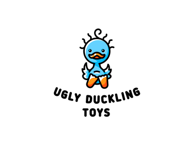ugly duckling ugly toy duck bird simple branding illustration funny vector design cute brand logo