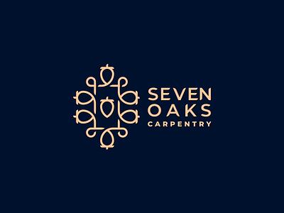 seven oaks acorn ornament lineart carpentry oak simple branding illustration vector design brand logo