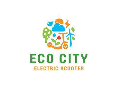 Eco city plant city eco leaf bird simple funny branding illustration vector design cute brand logo