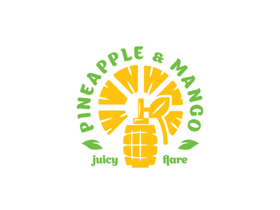 pineapple & mango bomb grenade green yellow leaf fruity fruits mango pineapple juice simple branding illustration vector design brand logo