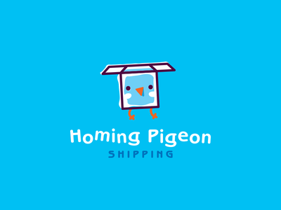 homing pigeon pigeon shipping box bird simple funny illustration vector cute brand logo