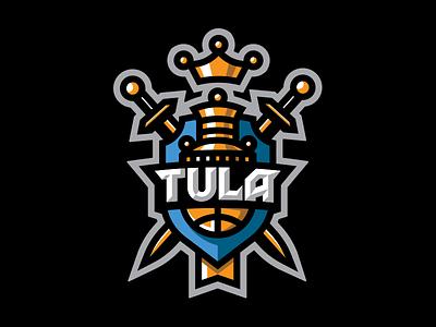 Tula basketball crown sword samovar sport ball basketball branding illustration vector design brand logo