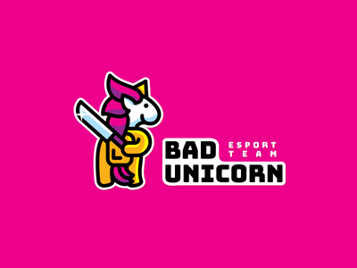 bad unicorn esport among us unicorn horse simple funny branding illustration vector cute brand logo