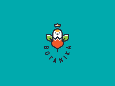 Botanika lineart bird simple funny illustration vector design cute brand logo