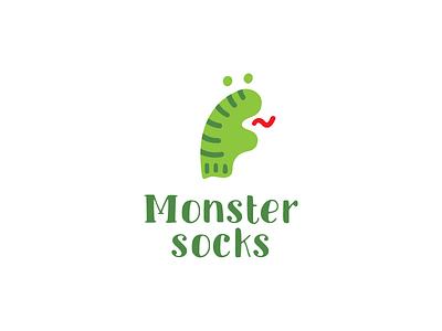 monster socks monster dinosaur dino socks simple funny branding illustration vector design cute brand logo