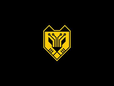 Ciber tiger yellow shield ciber tiger simple branding illustration vector design brand logo