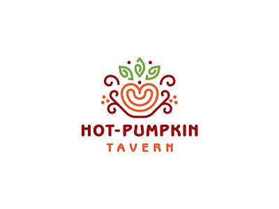 hot pumpkin restaurant cafe tavern pumpkin lineart simple branding vector design brand logo