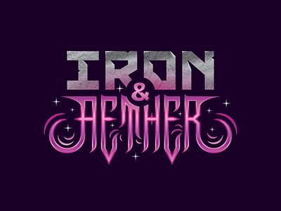 Iron & Aether gamelogo lettering typography branding vector design brand logo