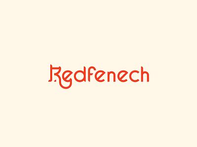 Redfenech lettering fox branding cute vector design brand logo